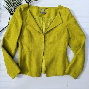 Anne Klein Open Collar Chartreuse Linen Blazer